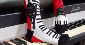 Piano Cat Knee High Socks