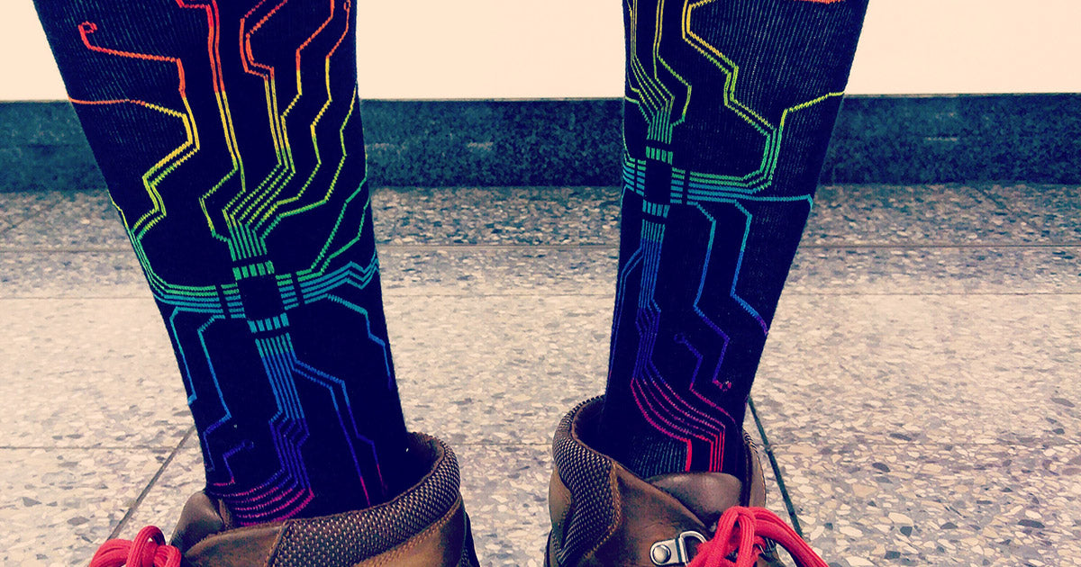 Nerdy men's socks with style — unique rainbow circuit board socks.