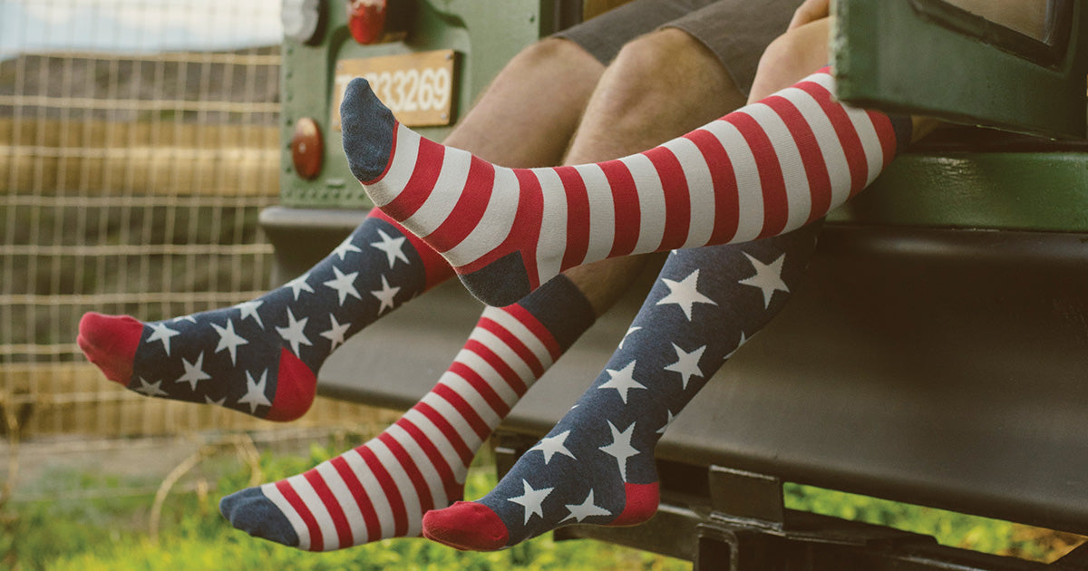 Mismatched American flag socks for men and women