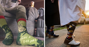 A father chills in his recliner wearing Dad Joke Socks, while cap-and-gown-wearing graduates step into the future in book socks.