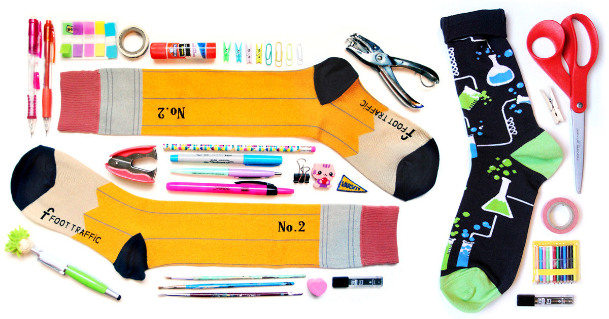 Socks for teachers with test tubes and pencil socks