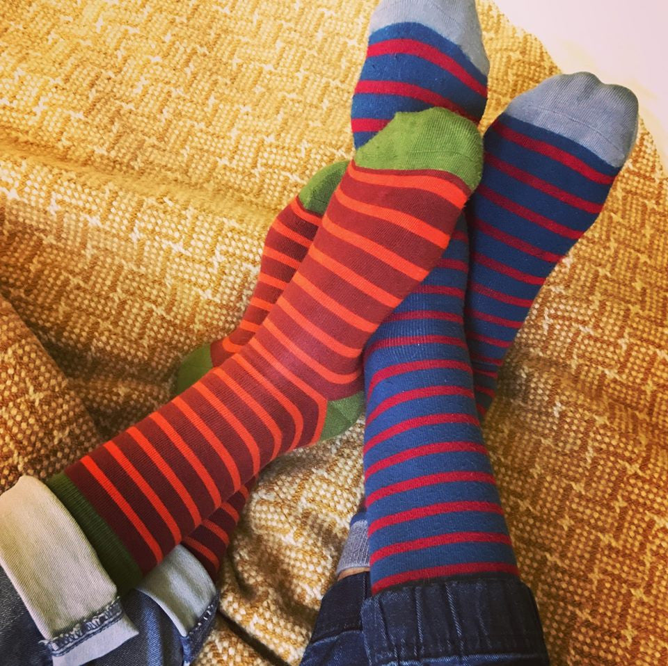 Bamboo socks for men & women feature colorful stripes, comfy solids & funky novelty prints like animals, skulls, nautical themes & florals.