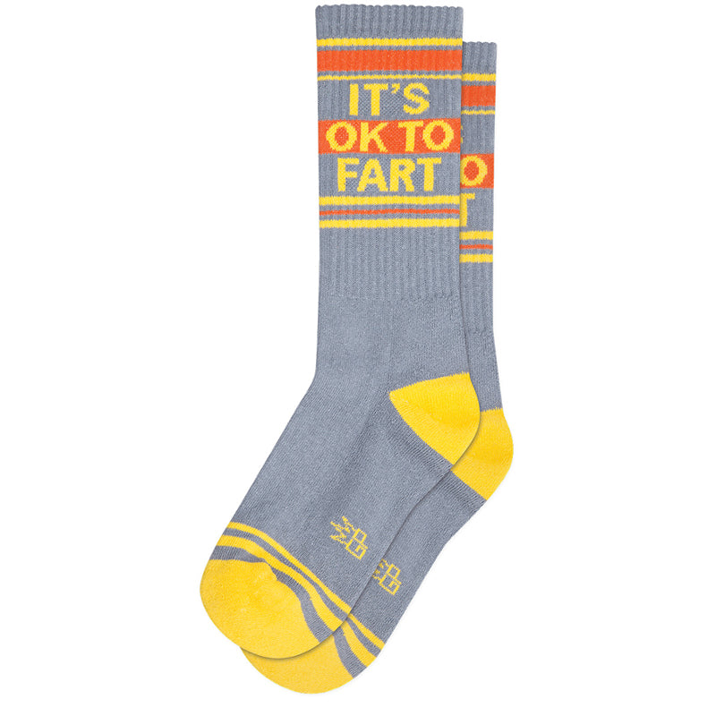 "Gumball Poodle Socks with a retro athletic gym sock stripe & the words ""It's OK to fart."""