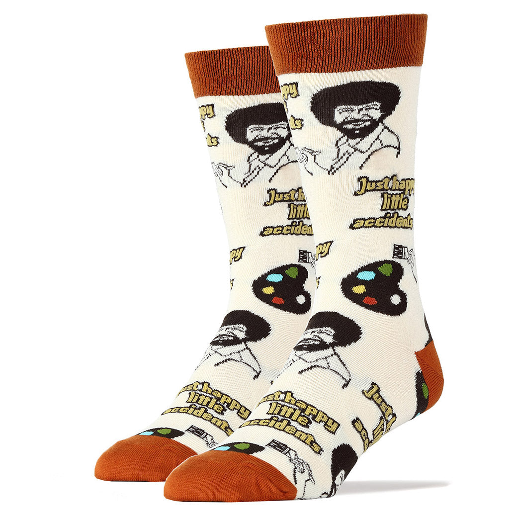 Bob Ross socks feature the beloved television artist.