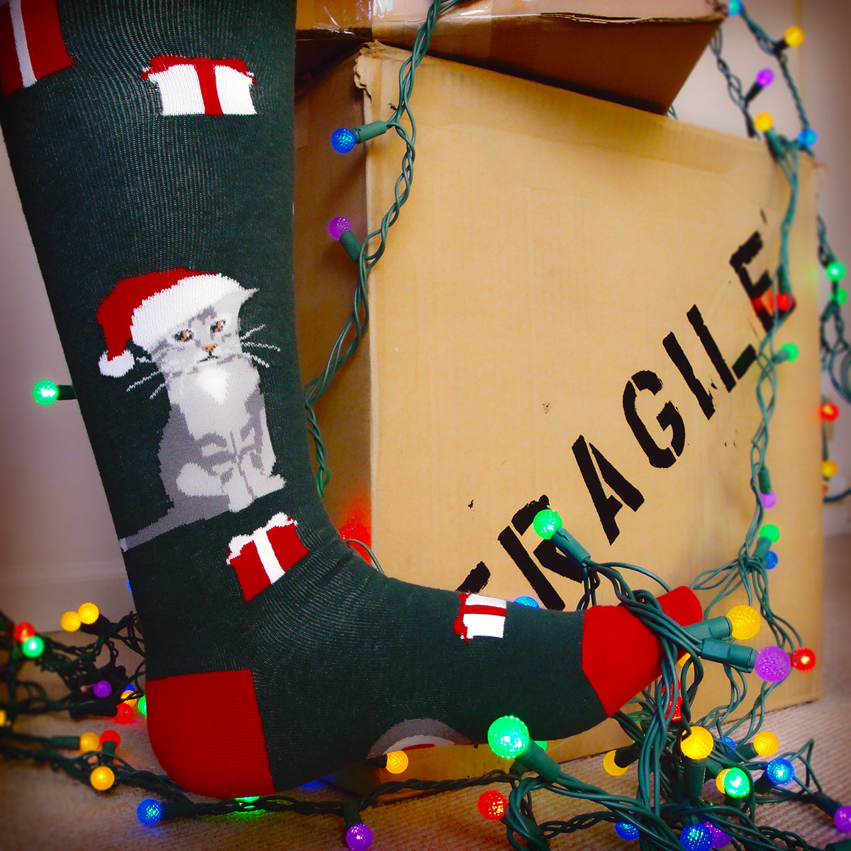 Christmas socks like our red & green knee high socks with Santa cat are what everyone wants for Christmas.