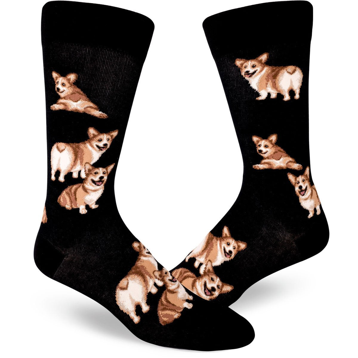 Men's dog socks with corgis and corgi butts