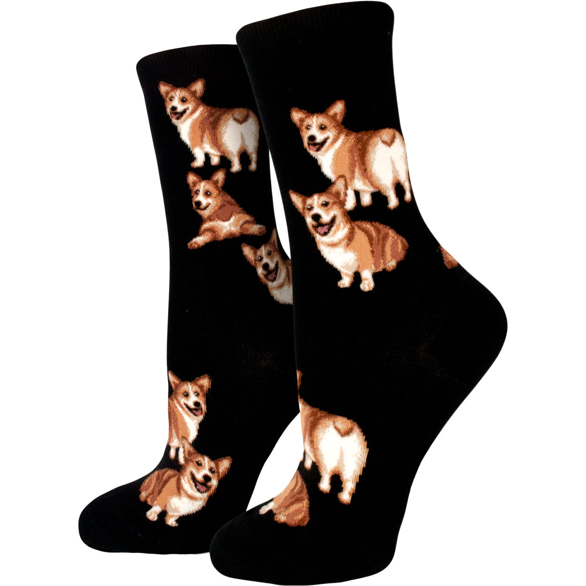 Corgi socks for dog lovers are patterned with cute corgi dogs showing their fluffy heart-shaped butts on a black background and are part of our Dog Socks collection.