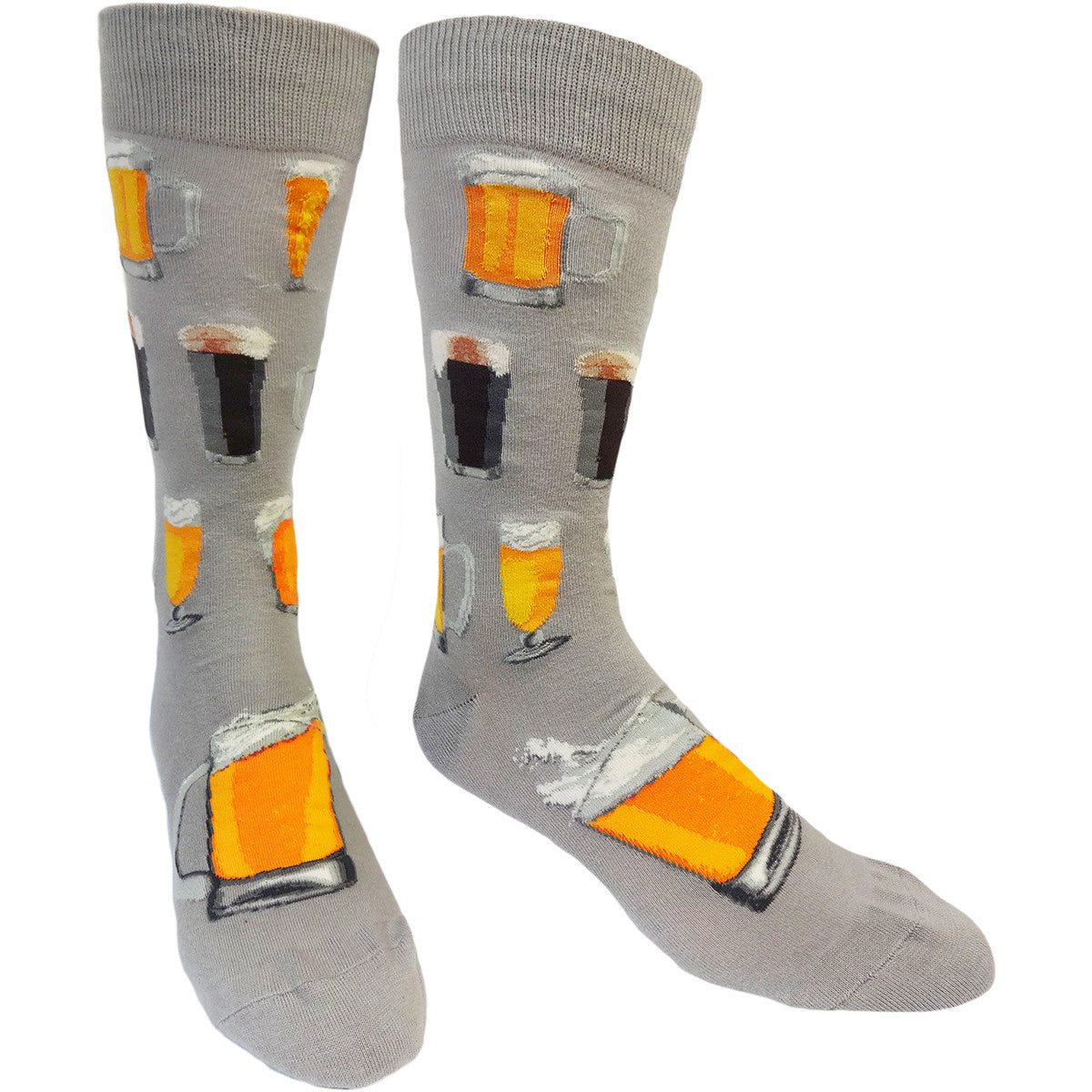 Show off your exBEERience during a night out with a pair from our Drinking Socks collection, showing off drinks of all types in both men's and women's sizes, including these grey men's crew socks featuring dark and light tap beers in glass beer mugs.