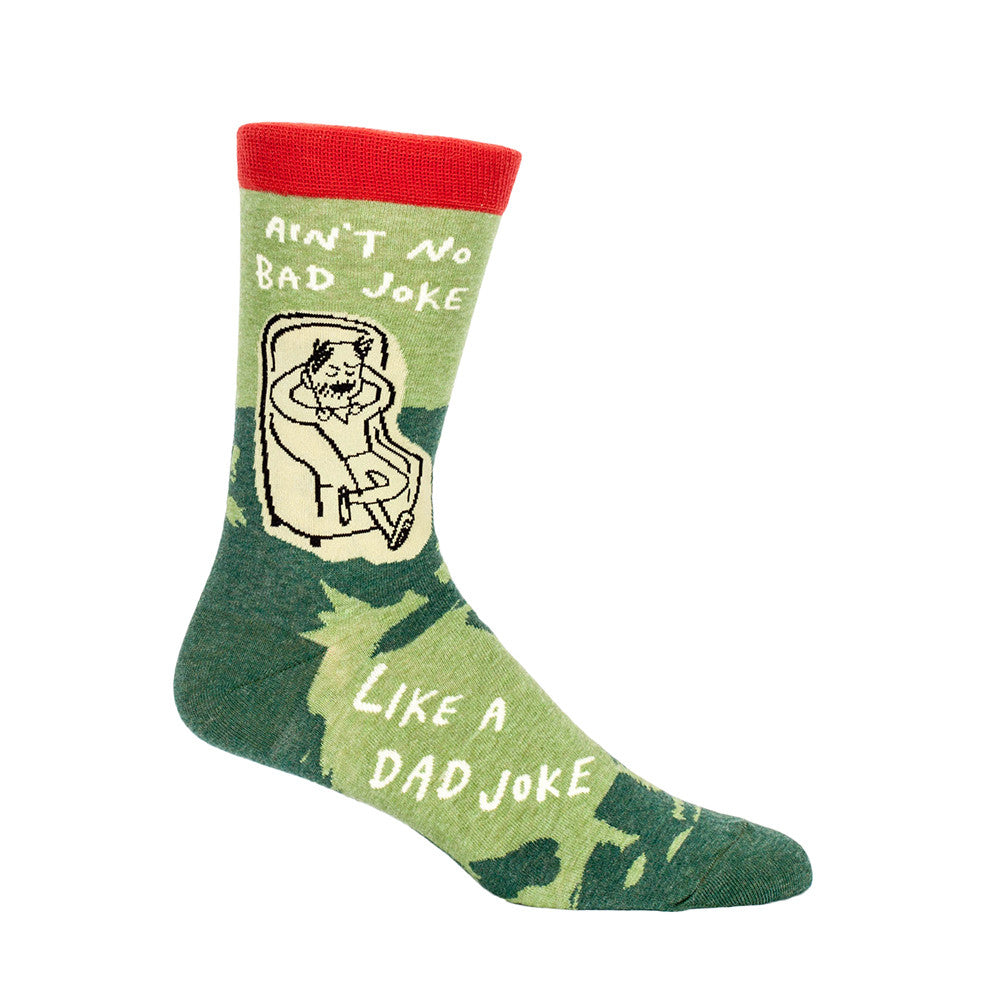These men's crew socks are green with an orange cuff and have a picture of a man lounging in a chair. The words Ain't No Bad Joke Like A Dad Joke is in white. You can find many funny, groovy, nerdy, and cool socks for your dad in our Dad Socks collection!