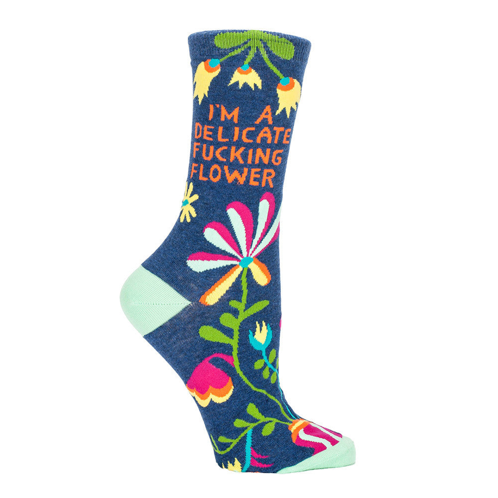 "Funny socks that say ""I'm a delicate fucking flower,"" part of our Blue Q socks collection at ModSock."