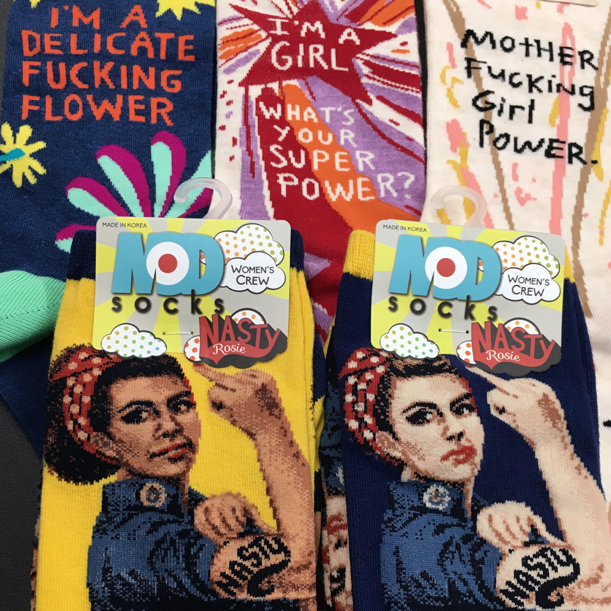 ModSocks' Rosie the Riveter Socks & sassy swear word socks by Blue Q are part of our Girl Power Socks collection.