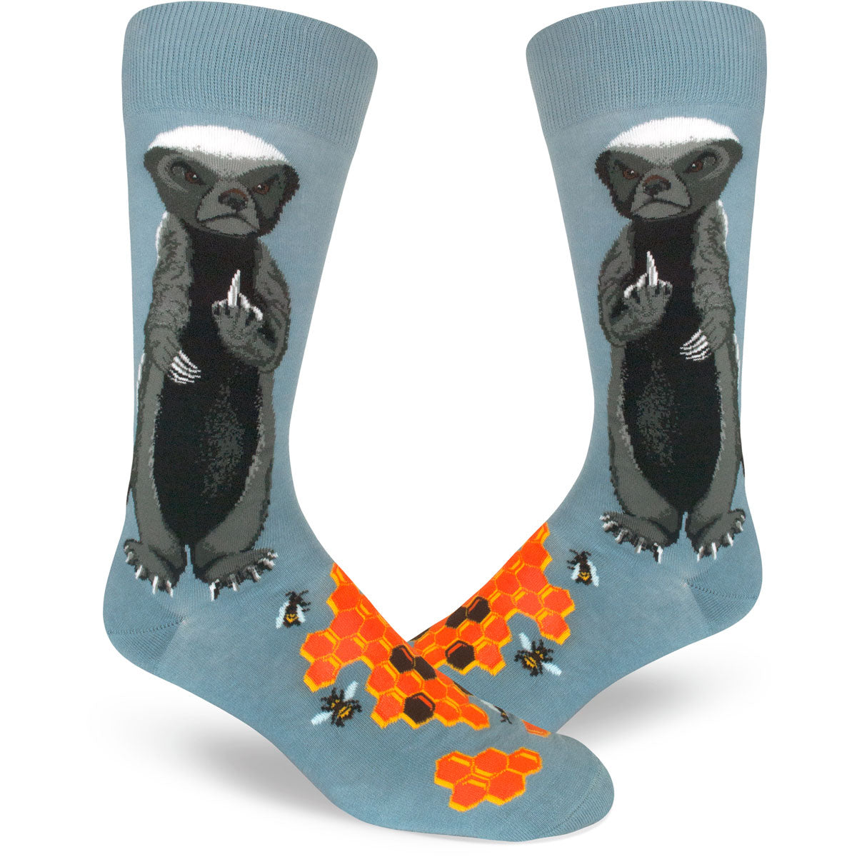 Funny men's socks with a honey badger flipping the middle finger