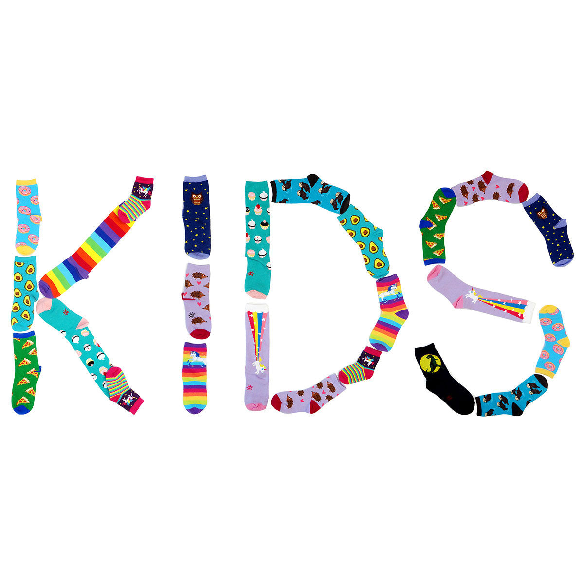"Cute socks with animals, food and rainbow stripes from our Kids' Socks collection spell out the word ""KIDS."""