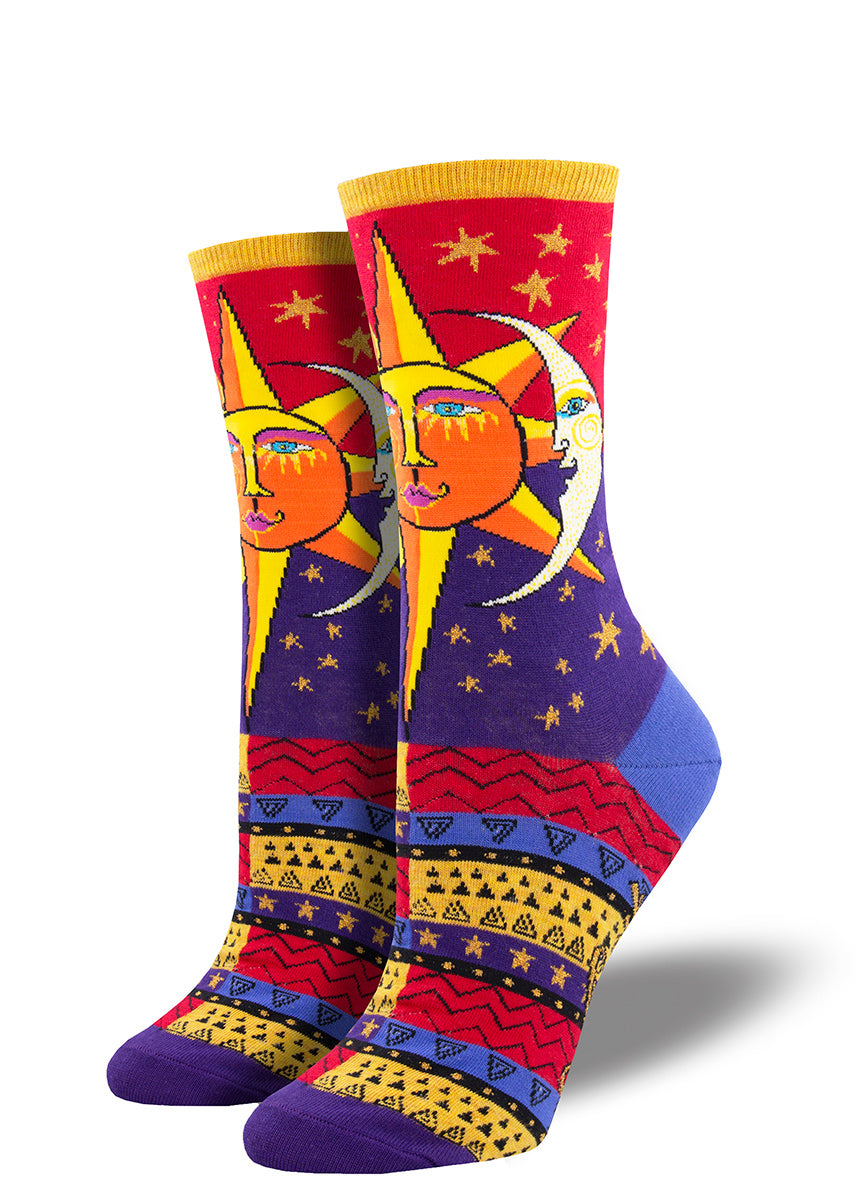 Laurel Burch socks with whimsical suns and moons