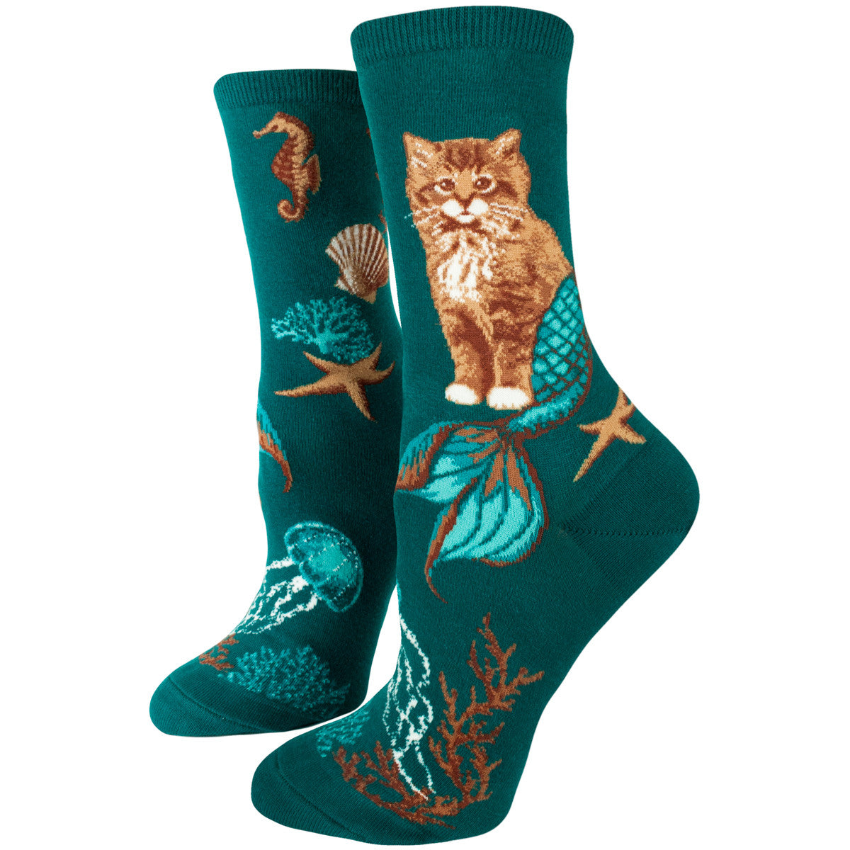 A cute sock if there ever was one, ModSocks' Purrmaid socks featuring cat mermaids are adorable!