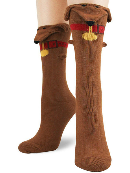 Funny dachshund socks with 3D ears and snouts