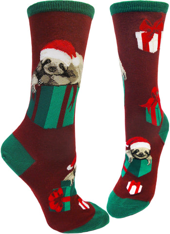 Women's crew socks featuring sloths with santa hats and Christmas gifts