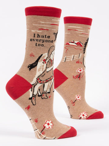 I Hate Everyone Too socks for women with horses
