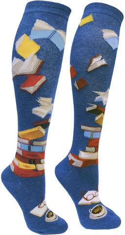 Bibliophile women's blue knee high socks with books