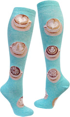 Latte Art knee high sock in teal