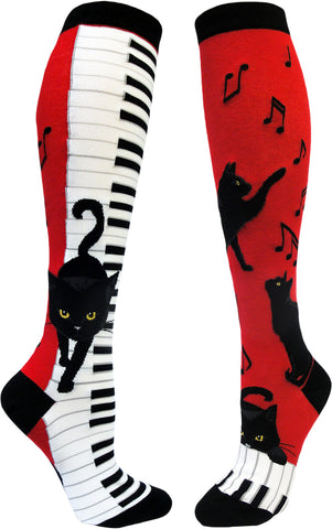 Piano Cat women's knee high socks