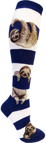 Sloth Stripe women's knee socks in navy and white