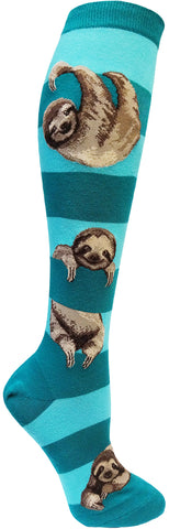Sloth Stripe women's knee socks