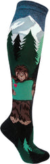 Sasquatch Loves Oregon knee sock featuring trees and bigfoot