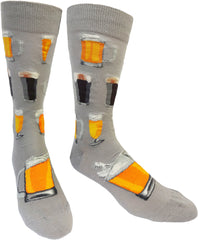 Men's crew socks with glasses of beer by ModSocks