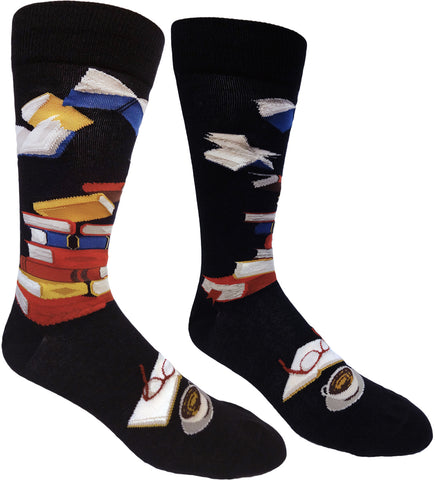 Bibliophile men's black crew socks with books on them
