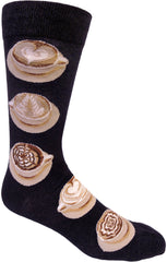 Latte Art men's crew sock in black