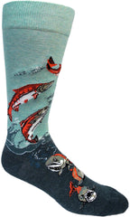 Men's crew socks with salmon and water by ModSocks