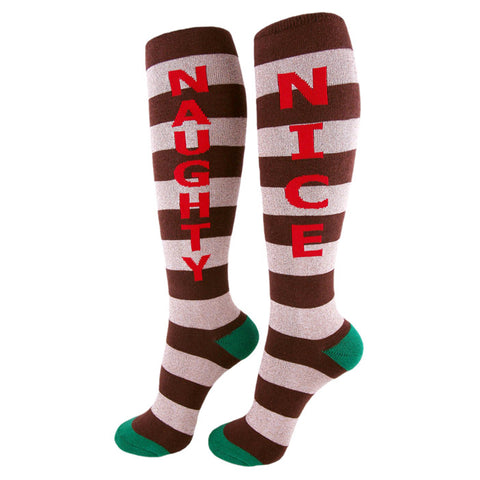 Funny Christmas socks with stripes, one says NAUGHTY and the other says NICE