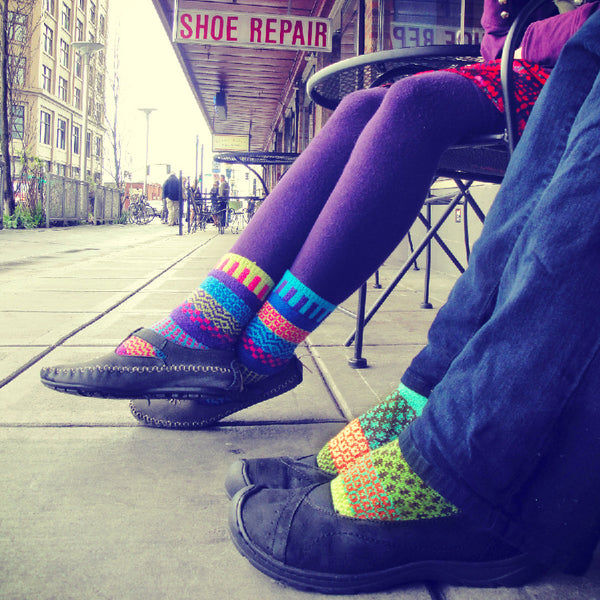 Mother and daughter wearing Solmate Socks brand