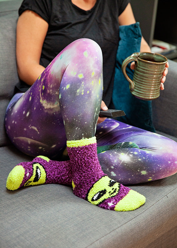 Fuzzy alien socks are part of our collection of cozy socks for fall
