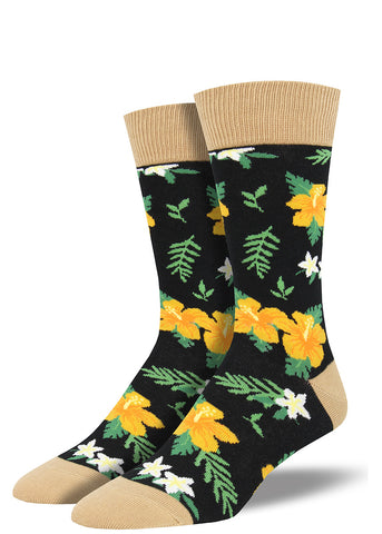 Aloha Floral Men's Socks with Hawaiian flower print