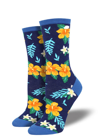 Hawaiian floral socks for women with hibiscus pattern