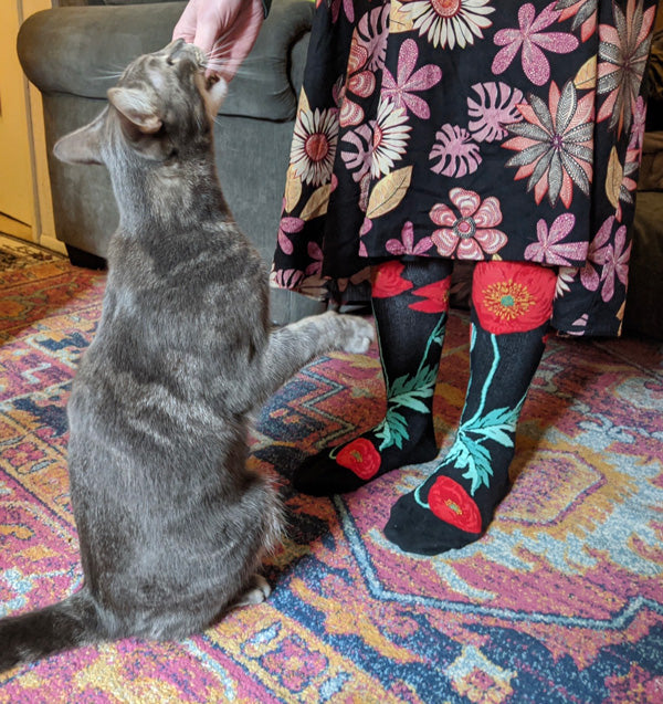 Andrea wears women's poppy socks with her large cat Arthur