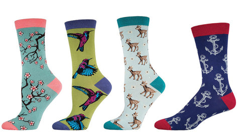 Bamboo sock styles with hummingbirds, cherry blossoms, deer and anchors