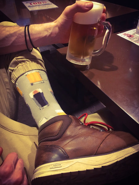 Beer socks for men featuring various craft beer varieties.