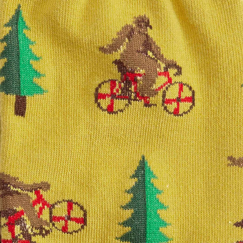 Men's Sasquatch socks with bicycles