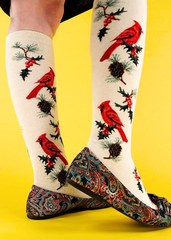 Cute bird socks for women with cardinals and Christmas greenery