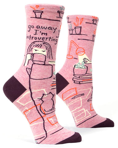 "Funny introvert socks that say ""Go Away I'm Introverting"""