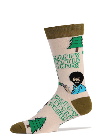 "Funny men's socks with Bob Ross that say ""Happy Little Trees"""