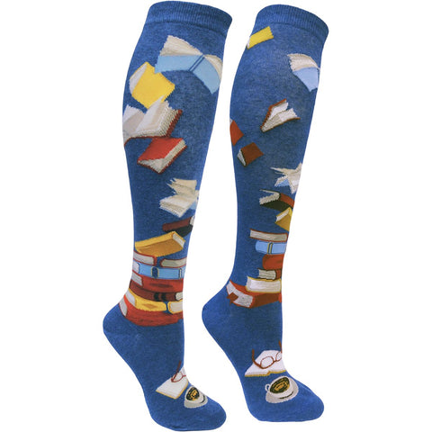 Women's knee socks with books