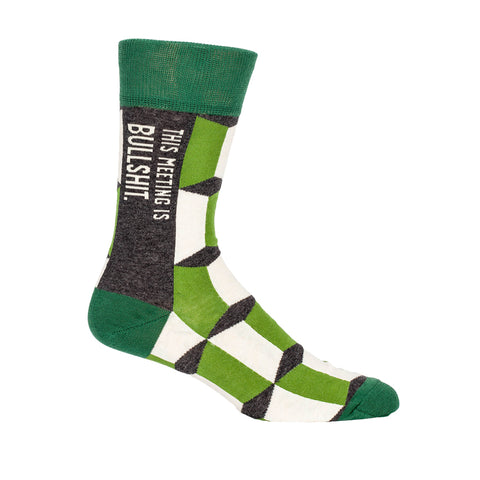"Men's green and gray crew socks that say ""this meeting is bullshit."""