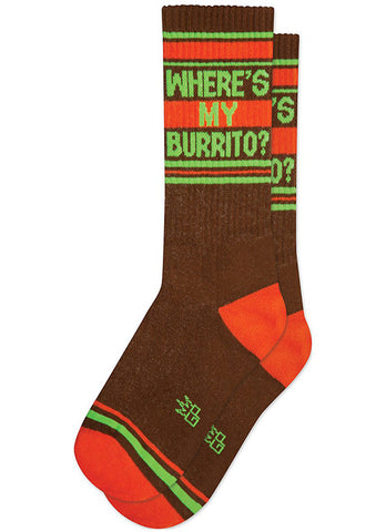"Funny burrito socks for men that say ""Where's My Burrito?"""