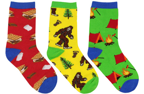 Camping socks for kids with Sasquatch, s'mores and campfires