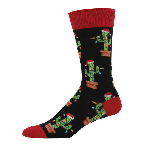 Men's black crew socks featuring cacti decorated for the holidays