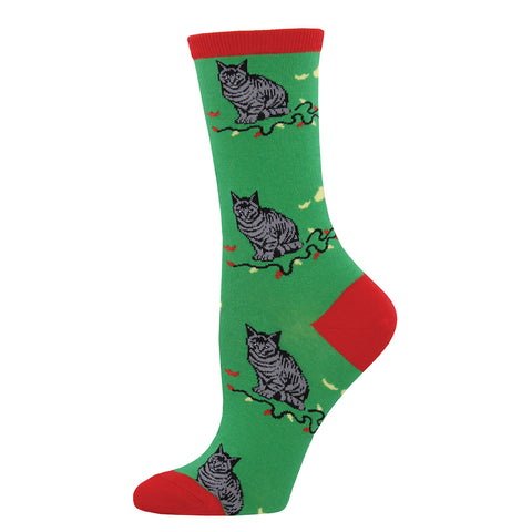 Christmas Cat-astrophe crew socks in green with cats playing with lights